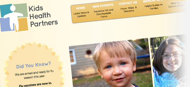 Kids Health Partners homepage design